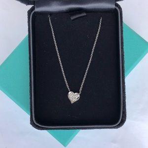 Tiffany And Co. Platinum Diamond Heart Chain